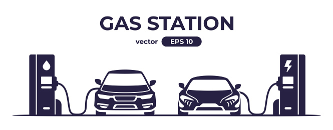 Car charging at the charger station. Car refueling petrol at the gas station. Electric or gasoline. Flat style eps10 illustration. Front view. Simple modern design. Black color icon.