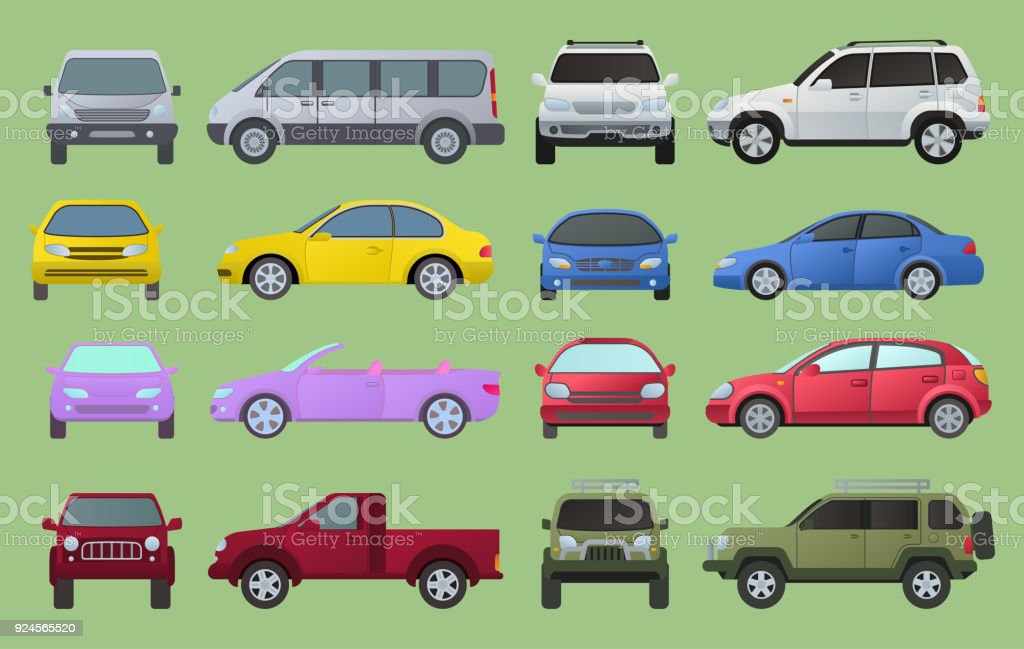 Car city different model objects icons set multicolor automobile supercar. Wheel symbol top and front view side car types. Traffic collection camper car types, sedan, truck minivan automotive - illustrazione arte vettoriale