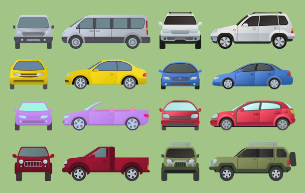 illustrazioni stock, clip art, cartoni animati e icone di tendenza di car city different model objects icons set multicolor automobile supercar. wheel symbol top and front view side car types. traffic collection camper car types, sedan, truck minivan automotive - car