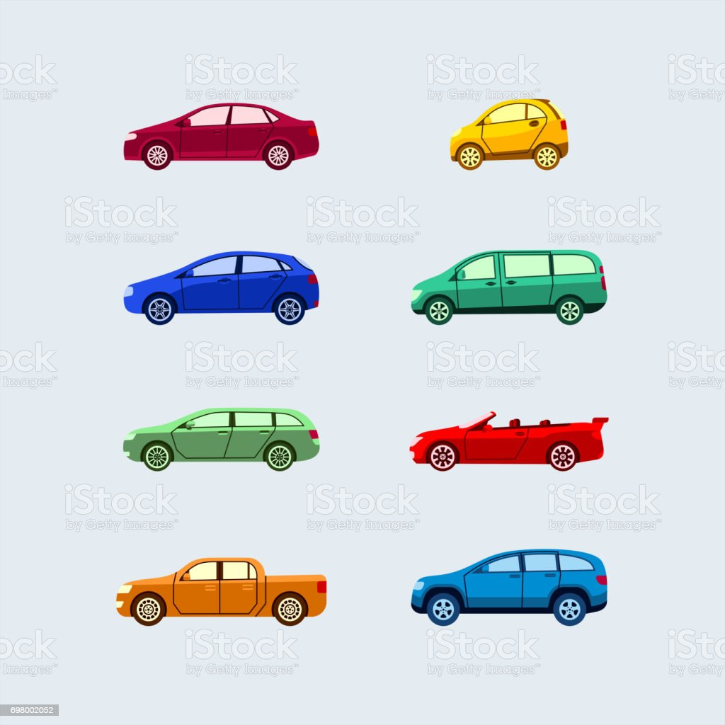 Car Classification - modern vector flat design icons set. - illustrazione arte vettoriale