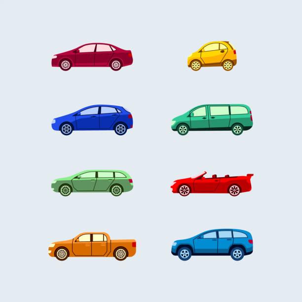 Car Classification - modern vector flat design icons set. vector art illustration