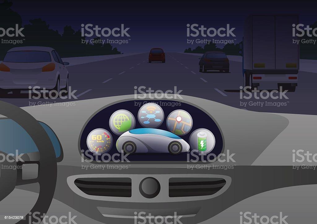 car cockpit and car control panel interface – Vektorgrafik