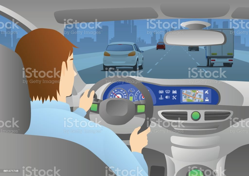car cockpit back view, a man is driving a car through an urban road vector art illustration