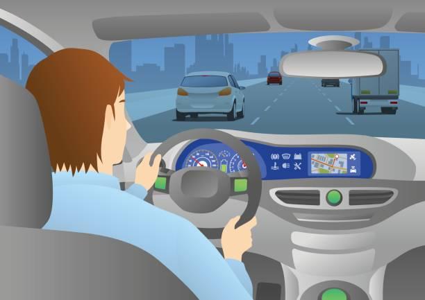 auto cockpit rückansicht, ein mann fährt ein auto durch eine städtische straße - selbstfahrende autos stock-grafiken, -clipart, -cartoons und -symbole