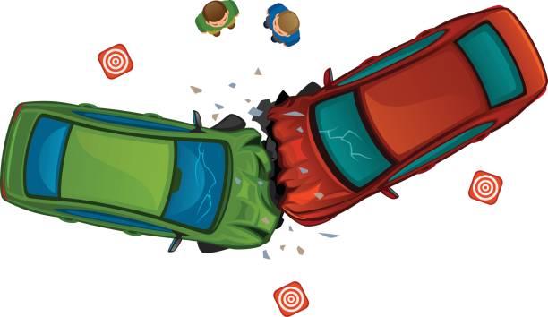 bildbanksillustrationer, clip art samt tecknat material och ikoner med bilen kollision - krockad bil