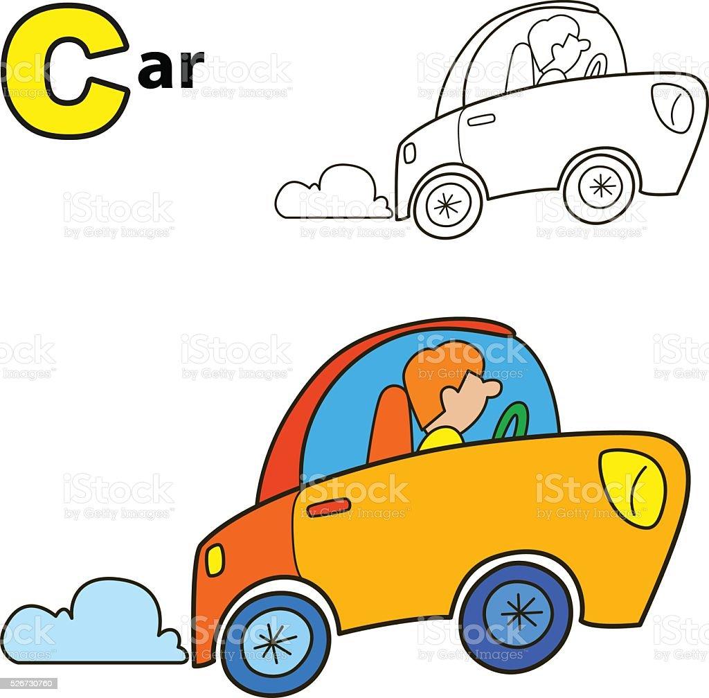 Ilustración de Automóvil Libro Para Colorear Página Ilustración ...