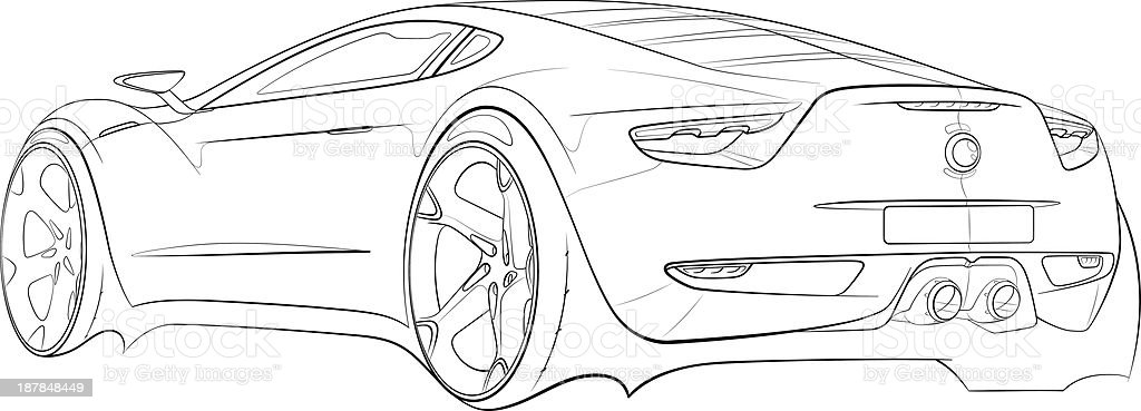 Car concept design sketch vector art illustration