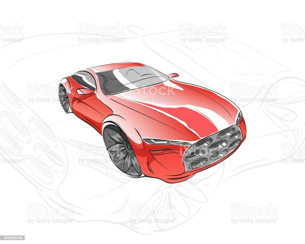 Autokonzept Autoskizze Vektor Hand Gezeichnet Autodesign Stock ...