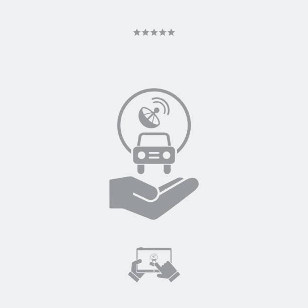 stockillustraties, clipart, cartoons en iconen met auto verbonden met satelliet - taxi robber