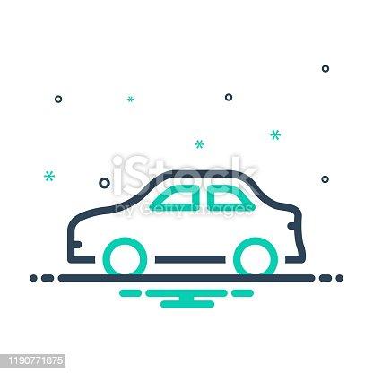 Icon for car, conveyance, carriage, transportation, transit, automotive, vehicle, automobile