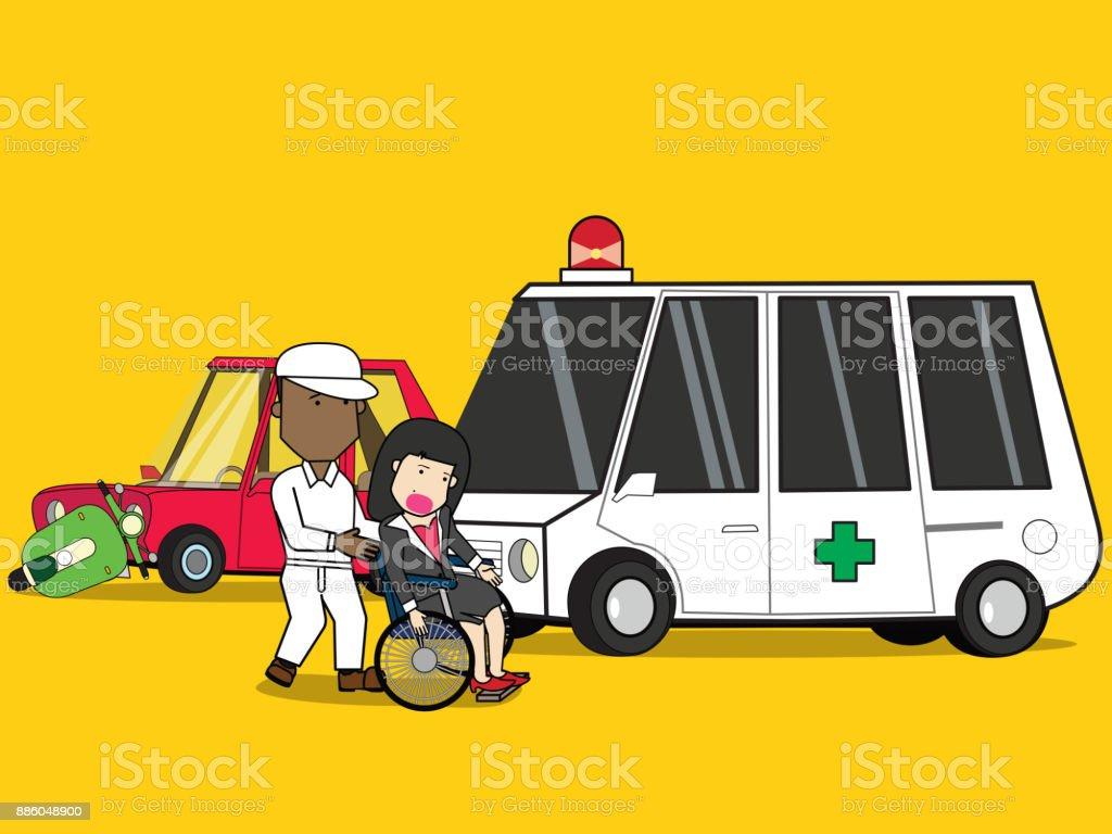 car crash and accident road collision safety emergency transportation. vector art illustration