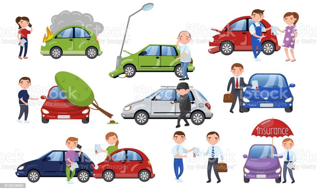 Autounfall Und Unfall Eingestellt Auto Versicherung Cartoon Vector ...