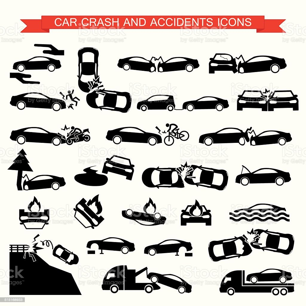 Accidente de tráfico, los accidentes iconos - ilustración de arte vectorial