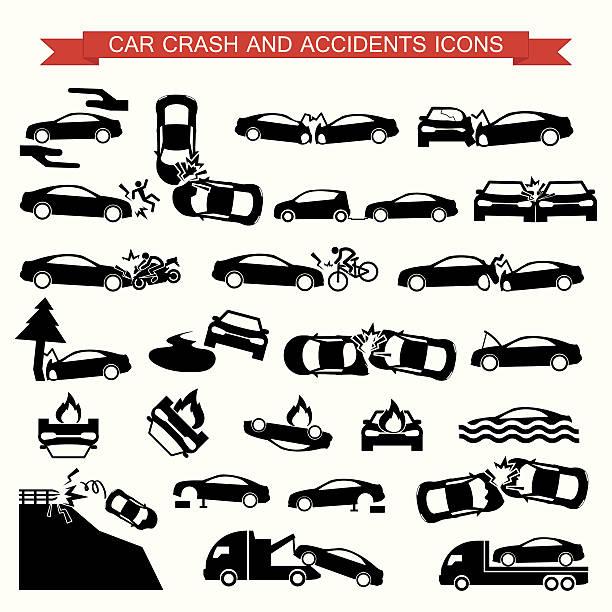 bildbanksillustrationer, clip art samt tecknat material och ikoner med car crash and accidents icons - krockad bil