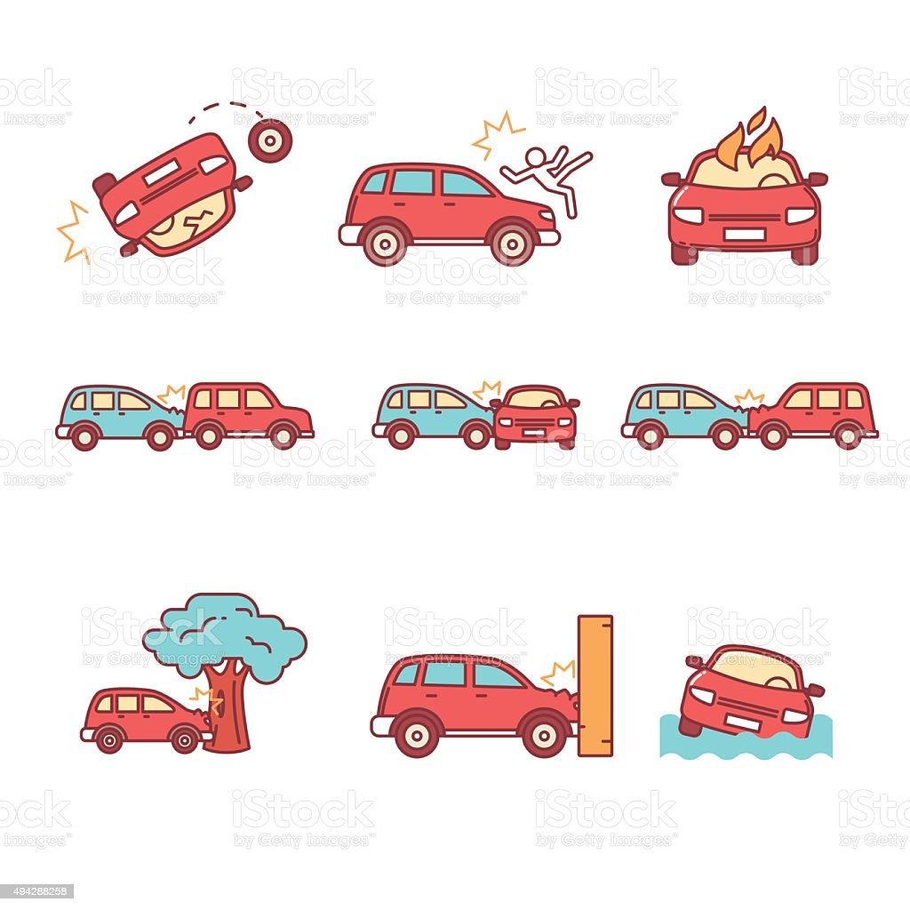 Accidente de tráfico y accidentes - ilustración de arte vectorial