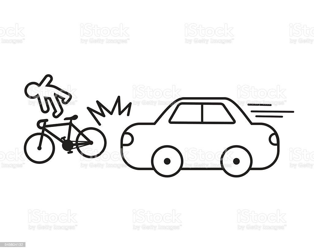 Car crash bicycle vector easy design . vector art illustration
