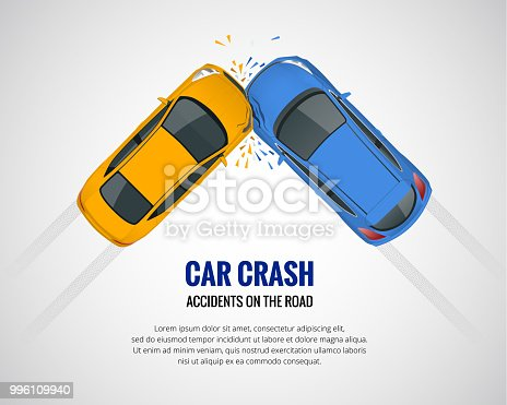 Car crash, car accident top view isolated on a light background. Car crash emergency disaster. Flat vector illustration