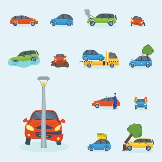bildbanksillustrationer, clip art samt tecknat material och ikoner med bil krasch kollision trafik försäkring säkerhet bil akuta katastrofen och akut reparation transport vektorillustration - krockad bil