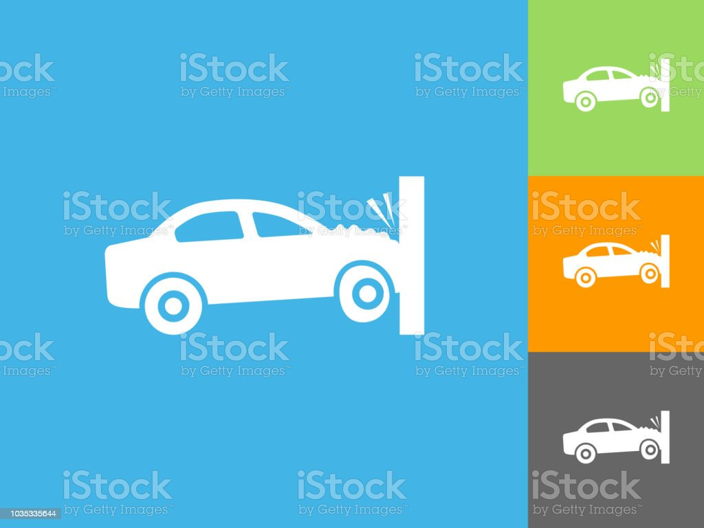 Car Crash Flat Icon On Blue Background Stock Illustration - Download Image  Now
