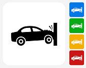 Car Crash Icon Flat Graphic Design