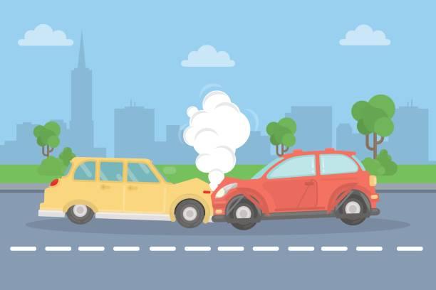 bildbanksillustrationer, clip art samt tecknat material och ikoner med bilolycka på vägen. - krockad bil