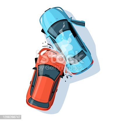 istock Car crash semi flat RGB color vector illustration 1256266747