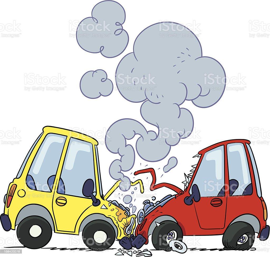 Car crash vector art illustration