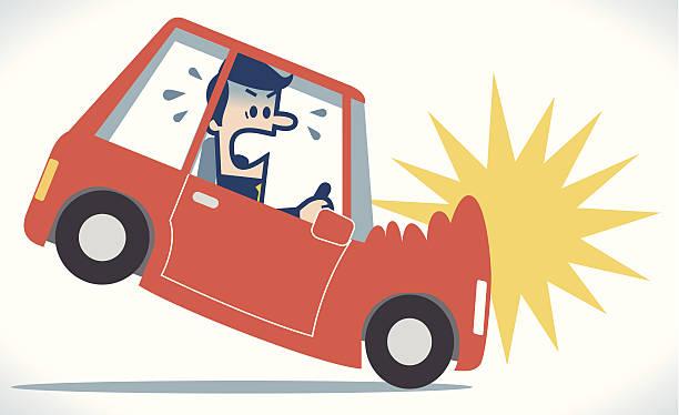 bildbanksillustrationer, clip art samt tecknat material och ikoner med car crash - krockad bil