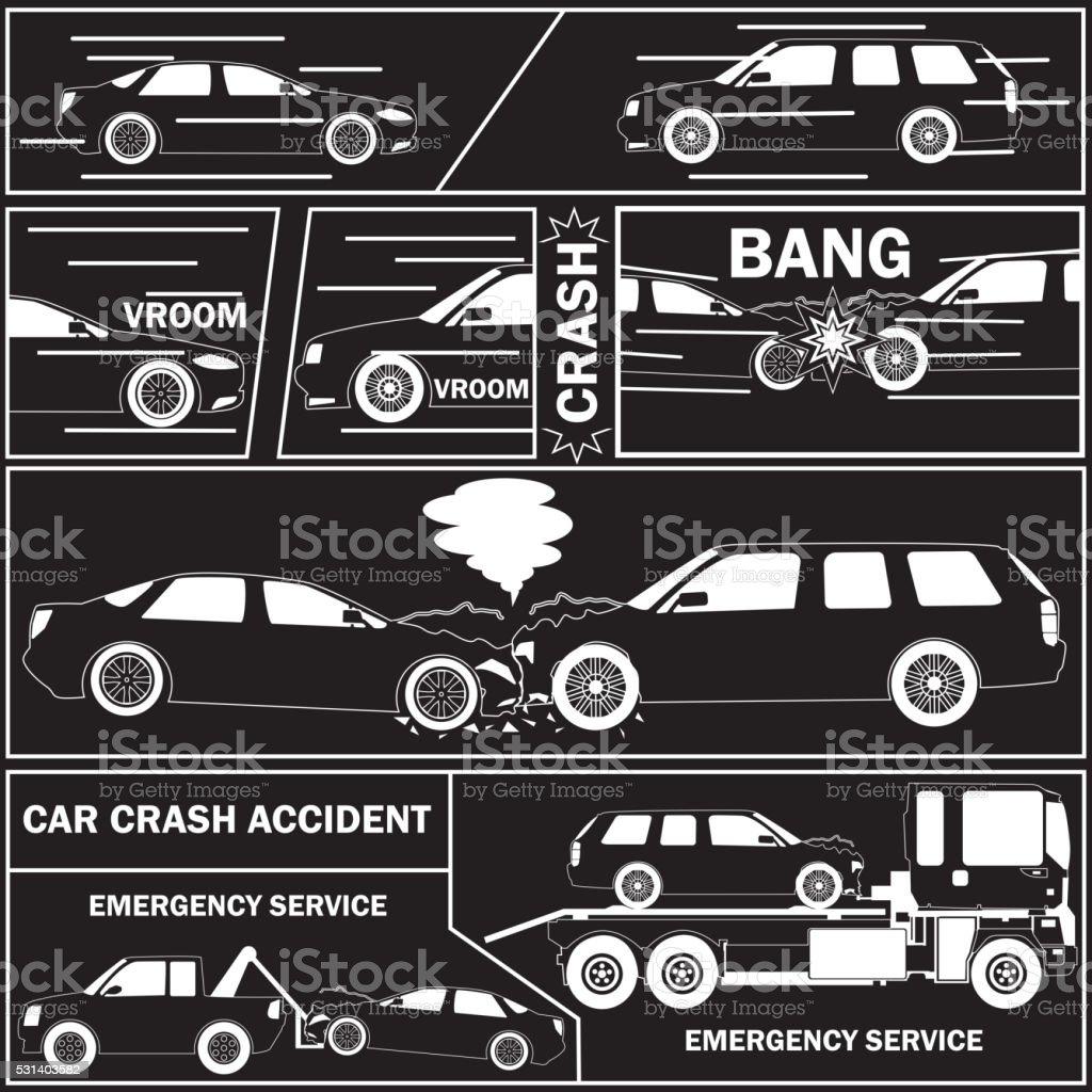 Autounfall Mit Comic Tisch Stock Vektor Art und mehr Bilder von ...