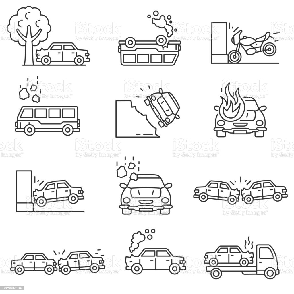 Conjunto de iconos de accidentes de coche. Movimiento editable - ilustración de arte vectorial