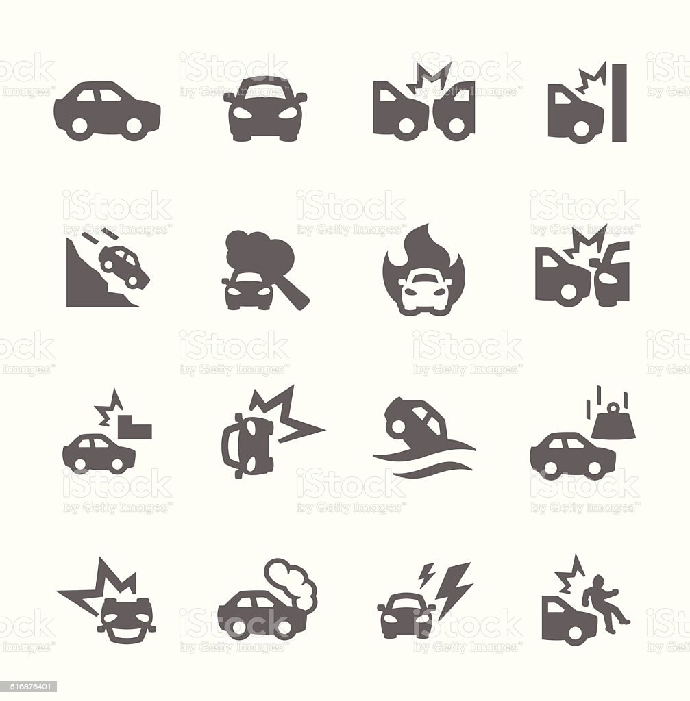 Car Crashes Icons vector art illustration