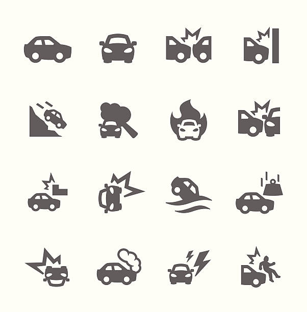 Car Crashes Icons vector art illustration