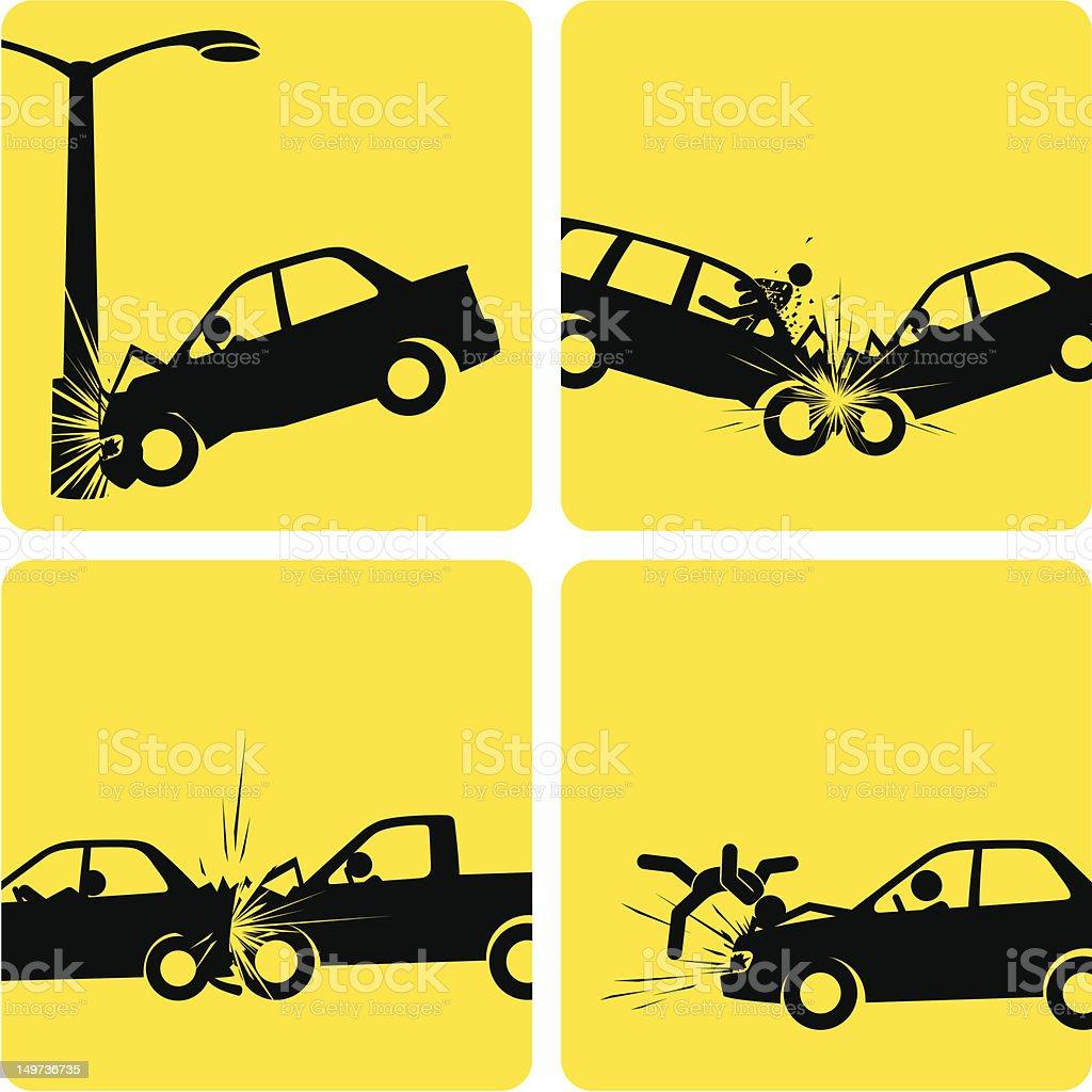 Car Crashes vector art illustration