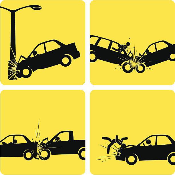 bildbanksillustrationer, clip art samt tecknat material och ikoner med car crashes - krockad bil