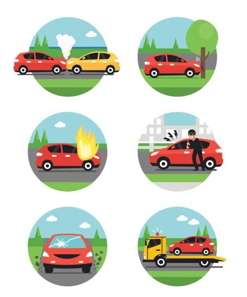 bildbanksillustrationer, clip art samt tecknat material och ikoner med bilolyckor - krockad bil