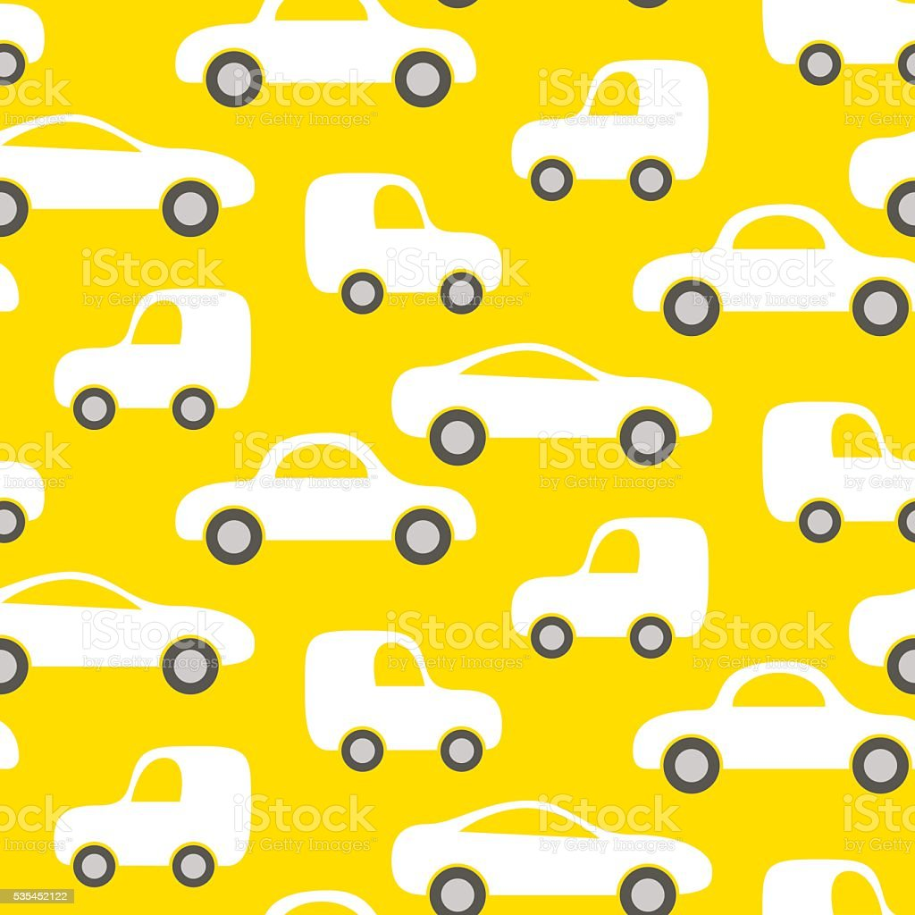Car cute baby vector seamless pattern.