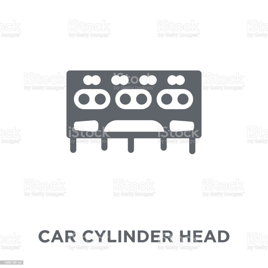 Car Cylinder Head Icon From Car Parts Collection Stock Illustration