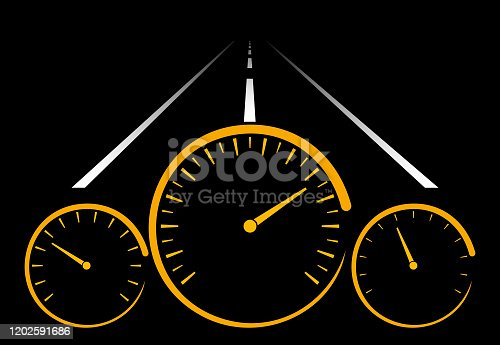 Car Dashboard at Night with Road Marking Ahead