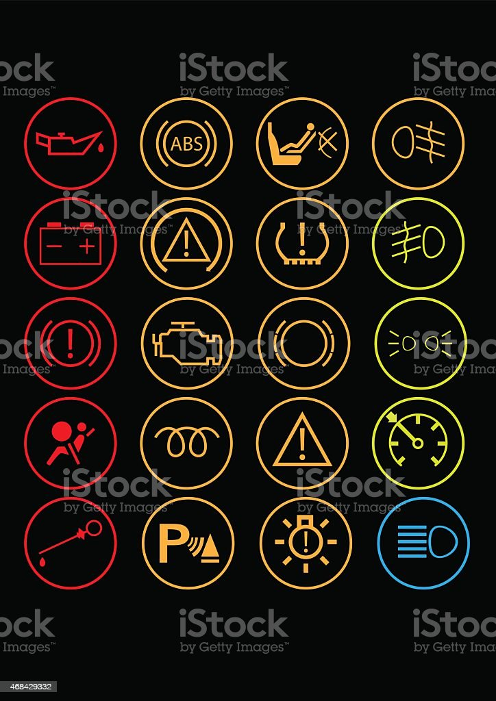 car dashboard controls vector art illustration