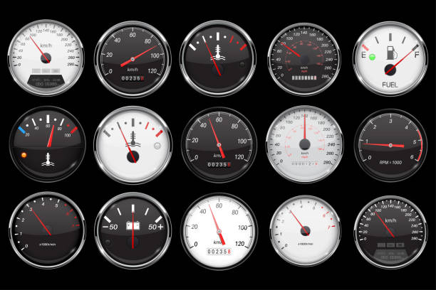 illustrazioni stock, clip art, cartoni animati e icone di tendenza di car dashboard gauges. collection of speed, fuel, temperature devices on black background - misuratore