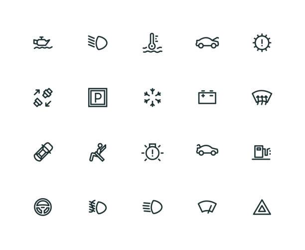 Car Dashboard Icon Set - Thick Line Series Car Dashboard Icon Set - Thick Line Series boot stock illustrations