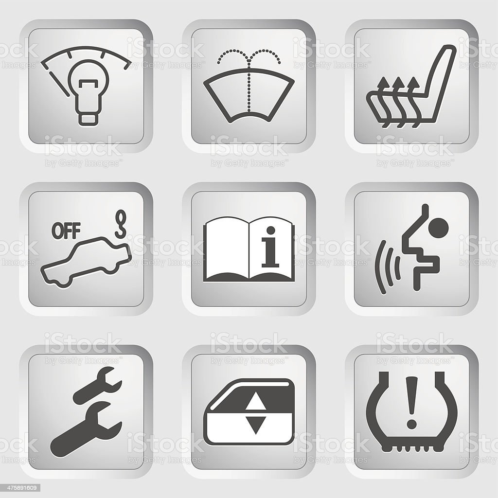 Car Dashboard Icons Stock Vector Art More Images Of Advice - Car image sign of dashboardcar dashboard icons stock images royaltyfree imagesvectors