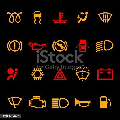Car dashboard icons set isolated on black background. Icon pack car information pictograms. Vector