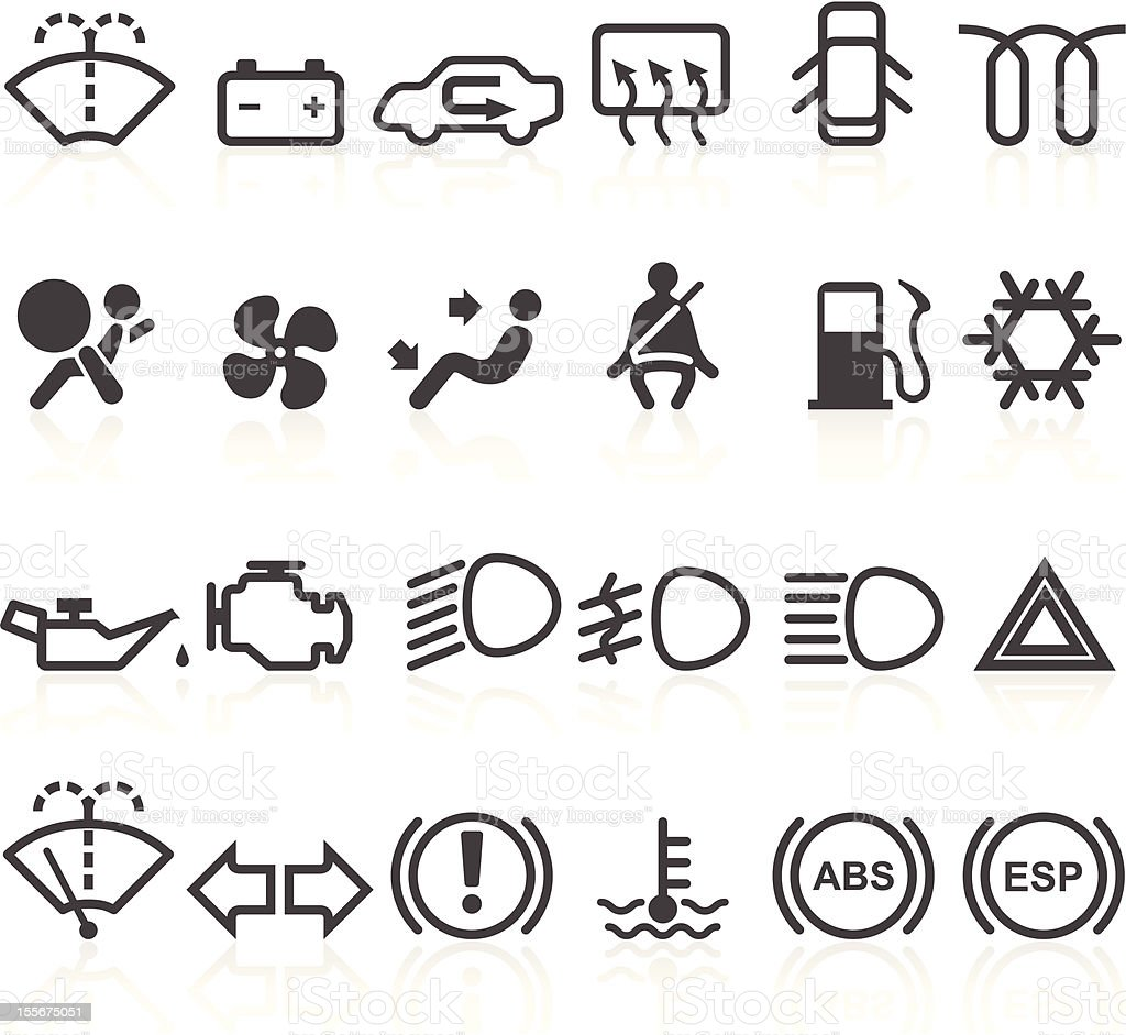 Car dashboard icons vector art illustration