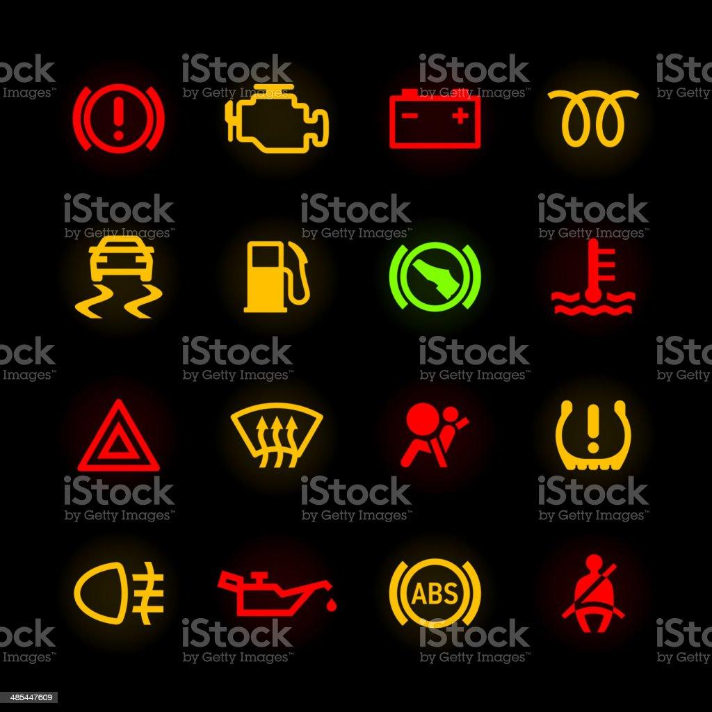 Car dashboard icons vector art illustration