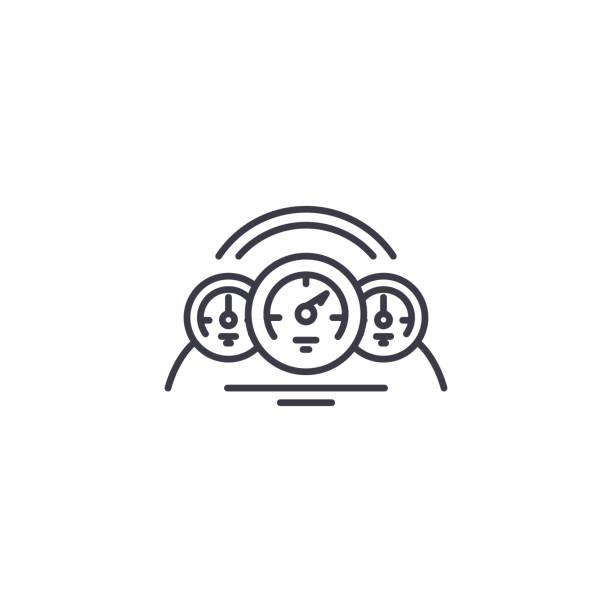 汽車儀表板線形圖示概念。汽車儀錶盤線向量符號, 符號, 插圖。向量藝術插圖