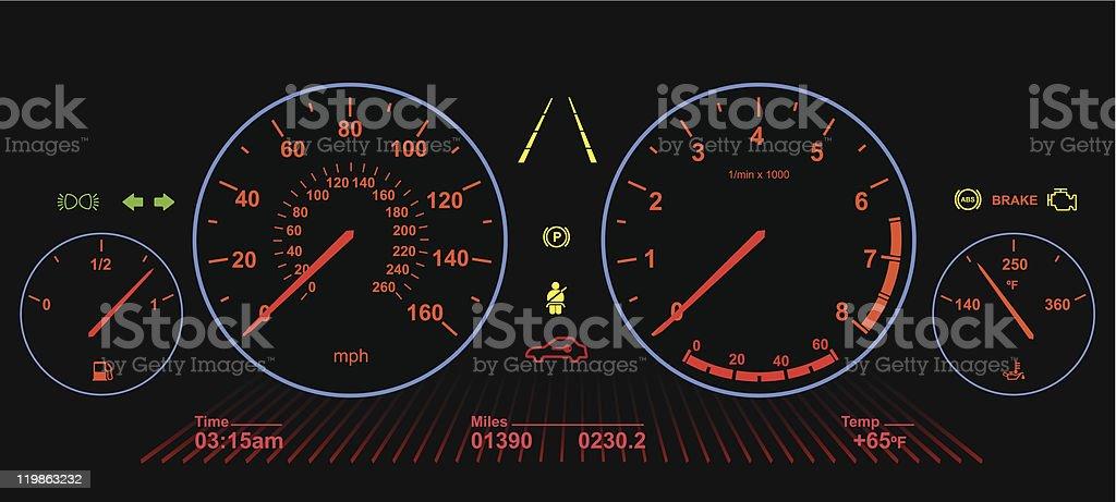 Car Dashboard | Night Screen royalty-free stock vector art