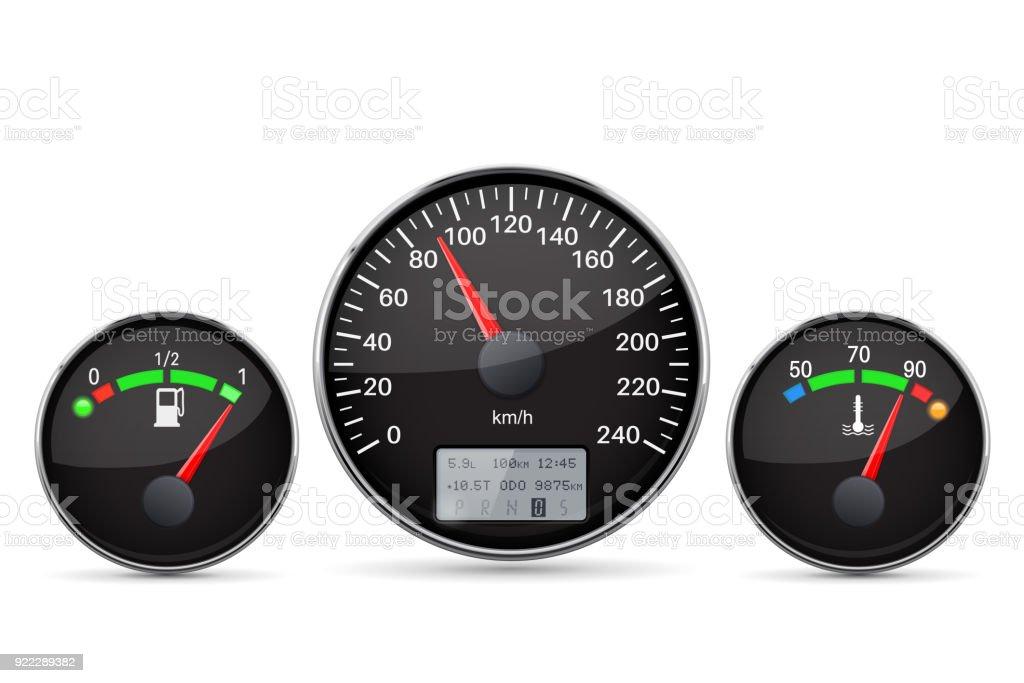 Car Dashboard Speedometer Fuel And Temperature Gauge Stock
