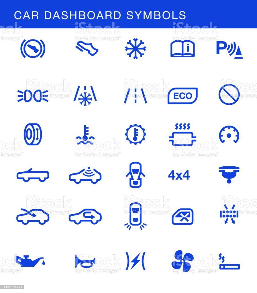 Auto-Dashboards-Symbole-Vektor-set – Vektorgrafik