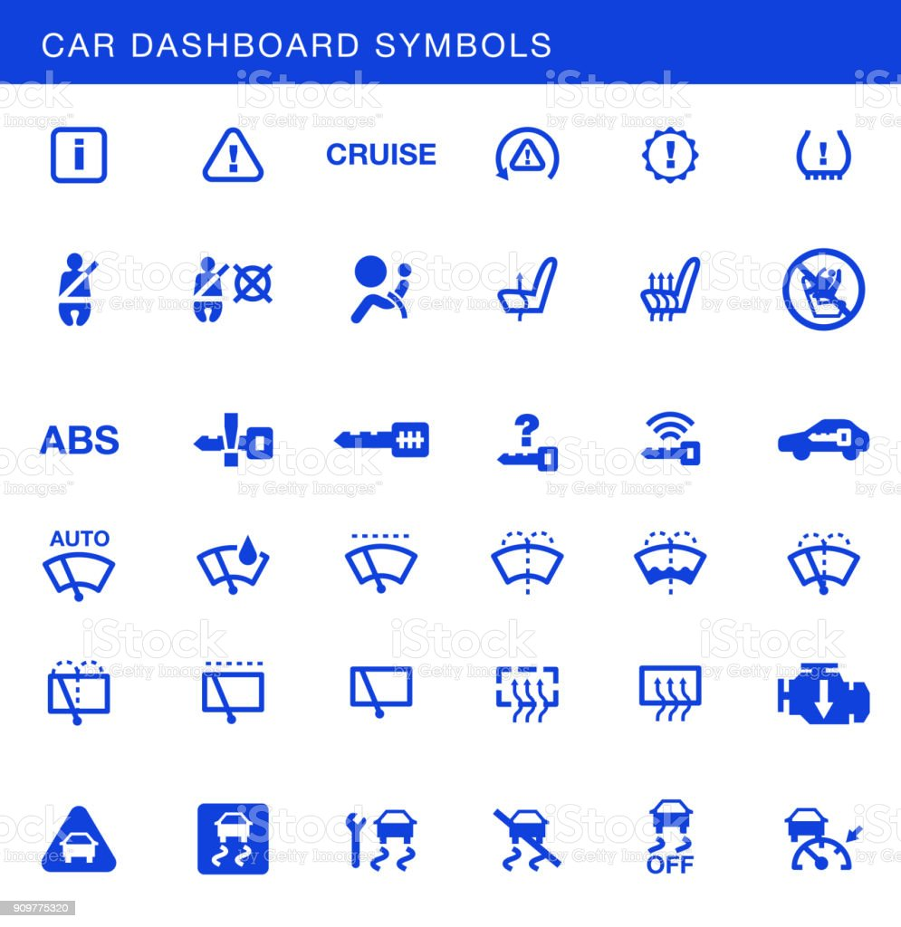 Car Dashboards Symbols Vector Set Stock Art More Images Of Dashboard Diagram Royalty Free